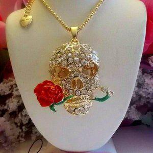 Betsey Johnson Skull Rose Necklace Gold Tone NEW